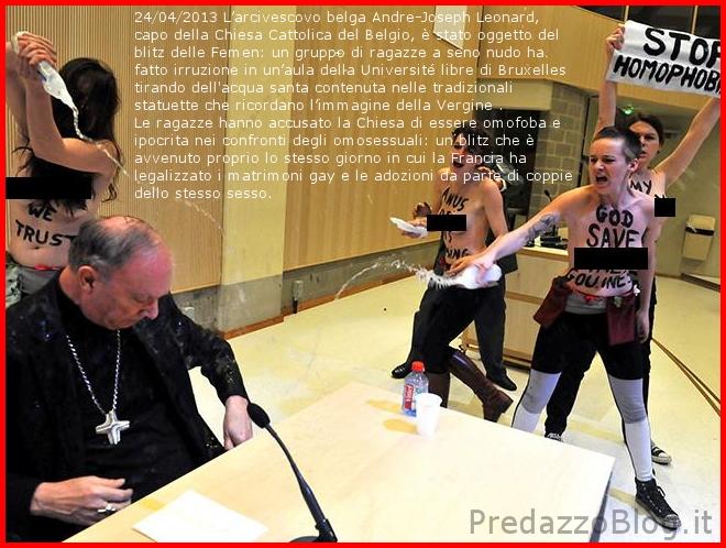 omofobia vescovo belga attaccato dalle femen Omofobia una legge da fermare