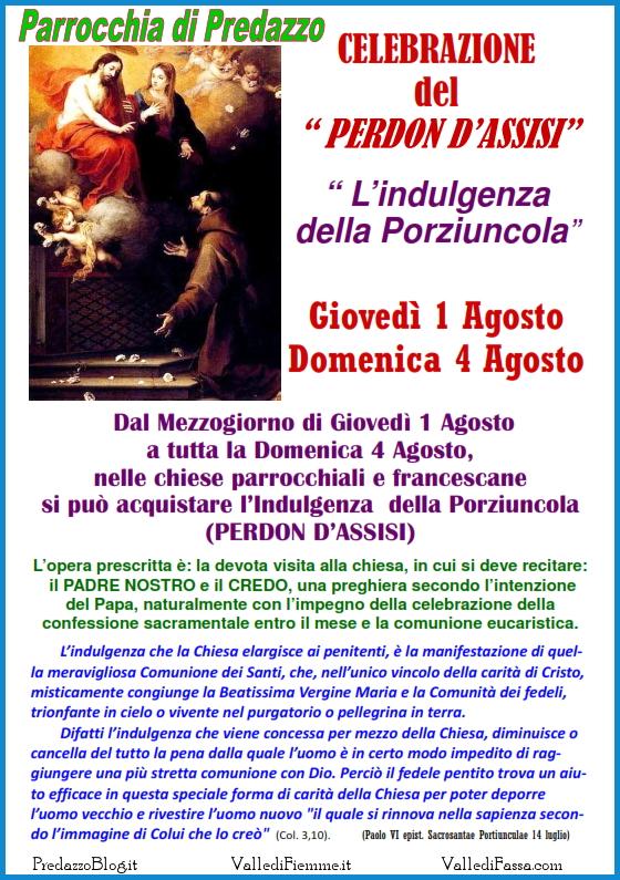 perdon dassisi parrocchia predazzo Predazzo, avvisi della Parrocchia dal 28 luglio al 4 agosto