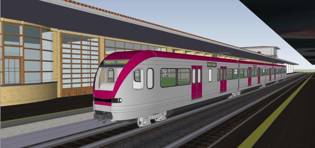 Trento 6 Il treno dellAvisio sfreccia sui manifesti