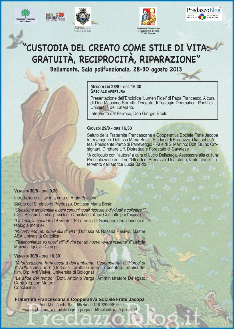 custodia del creato bellamonte predazzo Predazzo, avvisi della Parrocchia dal 25 agosto al 1 settembre