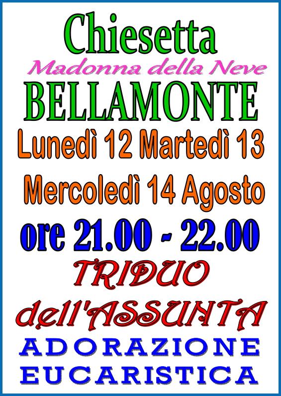 triduo assunta bellamonte Predazzo   Bellamonte, avvisi della Parrocchia