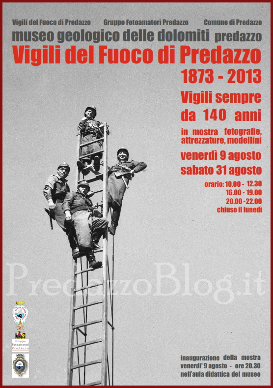 vigili fuoco predazzo mostra fotografica 140 anni Predazzo festeggia i 140 anni dei Vigili del Fuoco