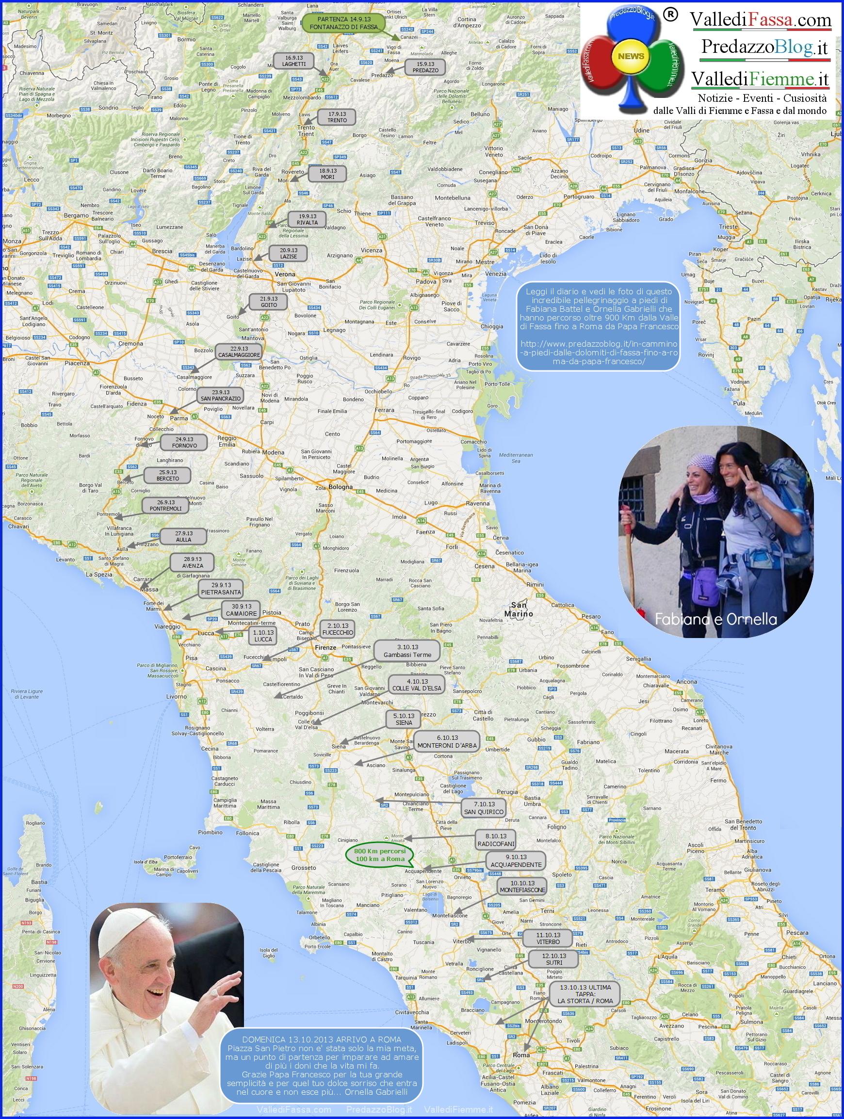 cartina italia con tappe intero cammino a piedi da fassa a roma predazzo blog  In cammino a piedi dalle Dolomiti di Fassa fino a Roma da Papa Francesco
