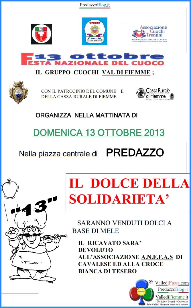 locandina cuochi fiemme dolce solidarieta 2013 predazzo blog Predazzo, Il dolce della solidarietà 13°ed. con il Gruppo Cuochi di Fiemme