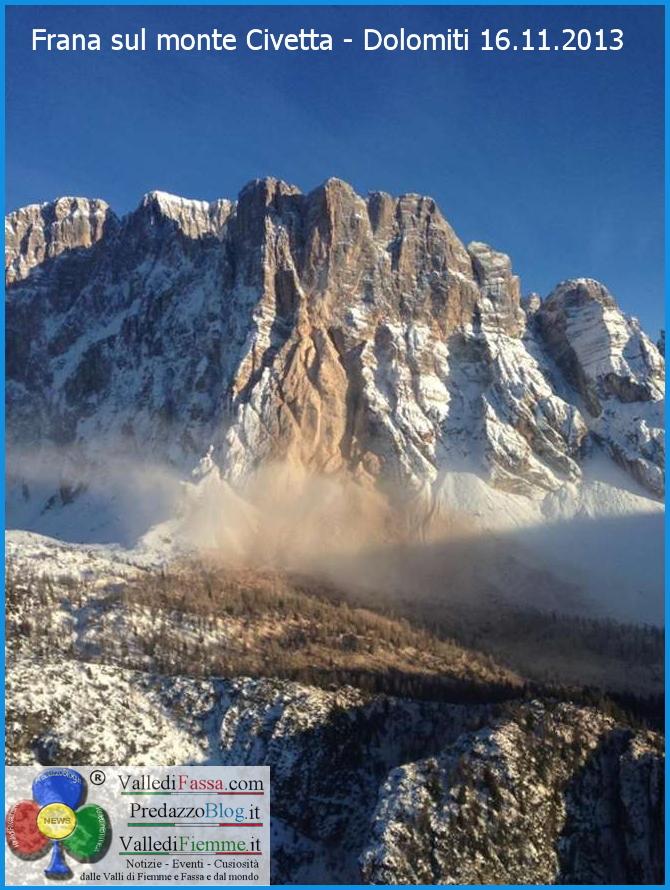 Frana sul monte Civetta Dolomiti 16.11.2013 predazzo blog2 Grande frana sul versante nord del Civetta