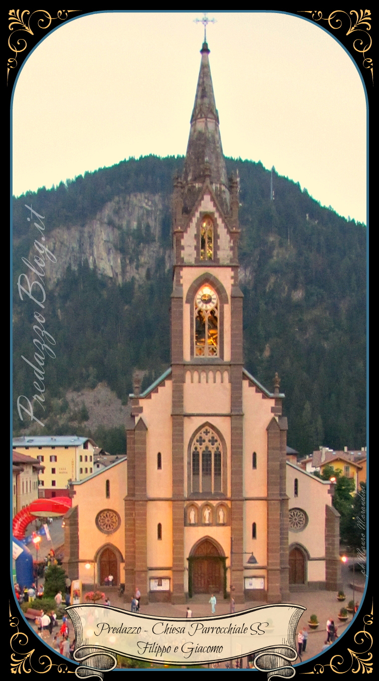 chiesa predazzo sera scritte nastro predazzoblog Parrocchia di Predazzo