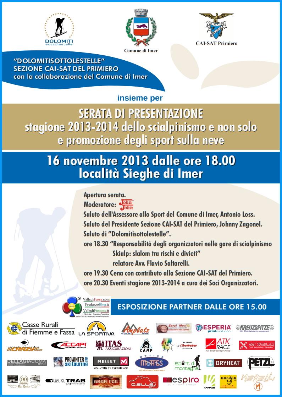 dolomiti sotto le stelle serata presentazione imer1 Dolomiti Sotto le Stelle il calendario gare scialpinismo 2013 2014