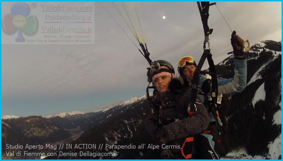 Studio Aperto Mag IN ACTION Parapendio all Alpe Cermis Val di Fiemme con denise dellagiacoma La Valle di Fiemme su Italia1 questa sera con Denise di Predazzo