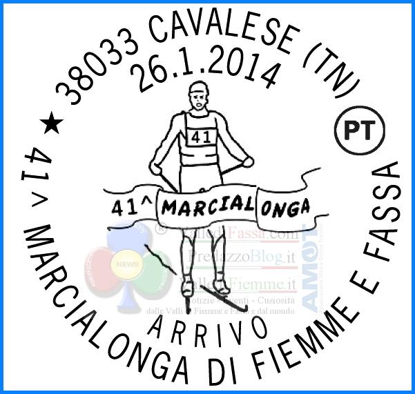 annullo filatelico marcialonga 2014 arrivo Due annulli filatelici dedicati alla 41° Marcialonga di Fiemme e Fassa