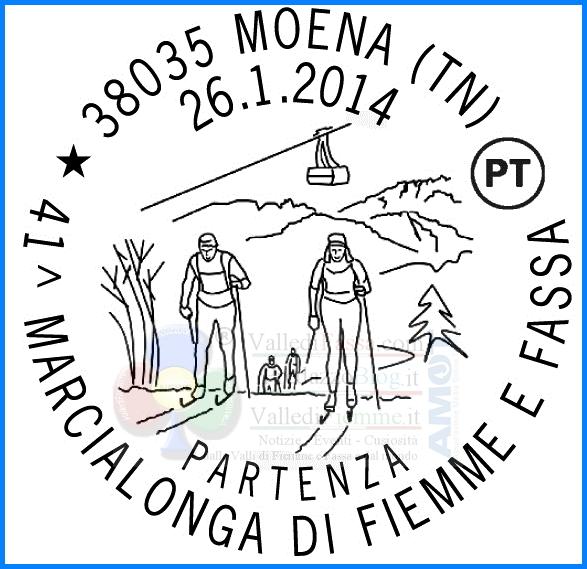 annullo filatelico marcialonga 2014 partenza Due annulli filatelici dedicati alla 41° Marcialonga di Fiemme e Fassa
