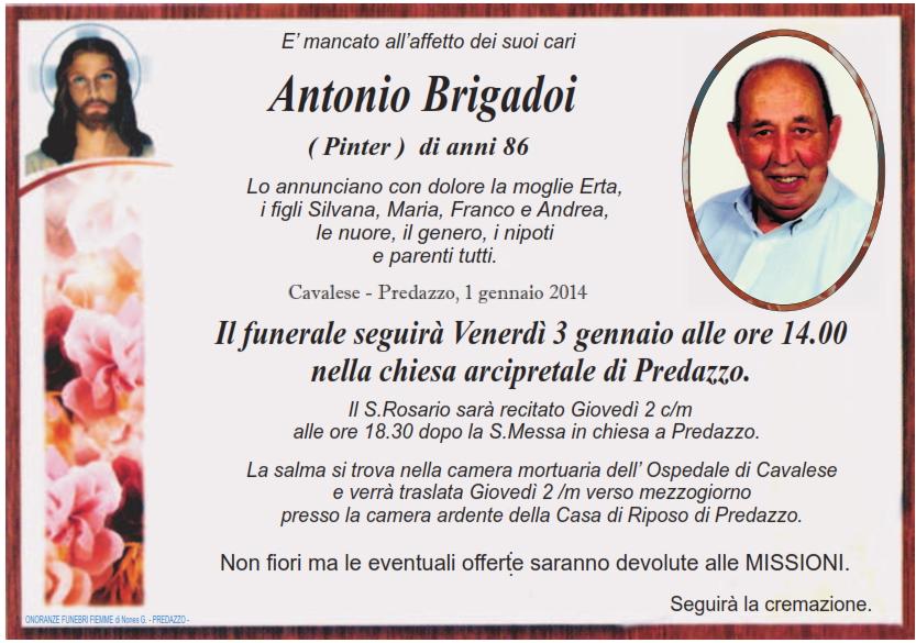 antonio brigadoi pinter Predazzo, necrologio Antonio Brigadoi (Pinter)