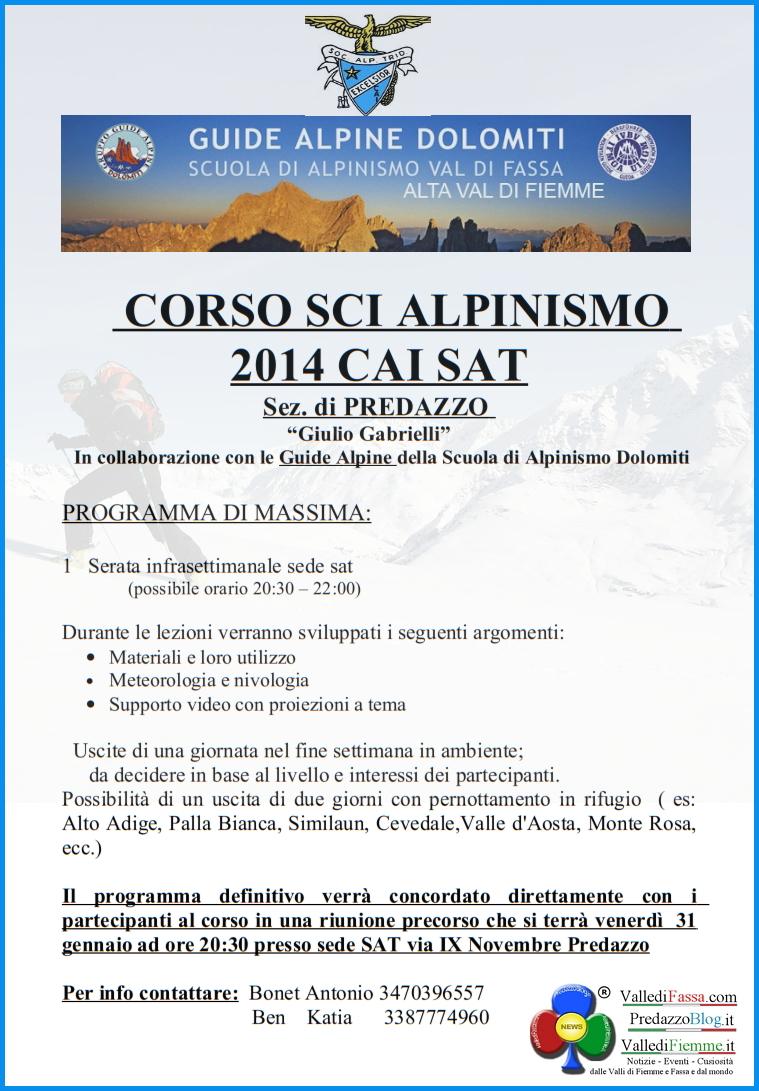 corso sci alpinismo cai sat predazzo Corso di Sci Alpinismo 2014 con il CAI SAT  di PREDAZZO