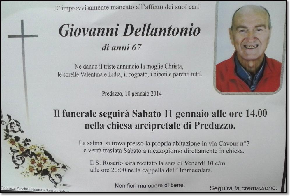 giovanni dellantonio2 Predazzo avvisi della Parrocchia e necrologio