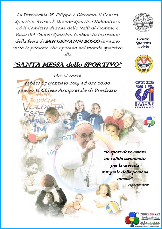 messa dello sportivo 2014 predazzo S.Messa dello Sportivo a Predazzo con le Associazioni Sportive di Fiemme e Fassa