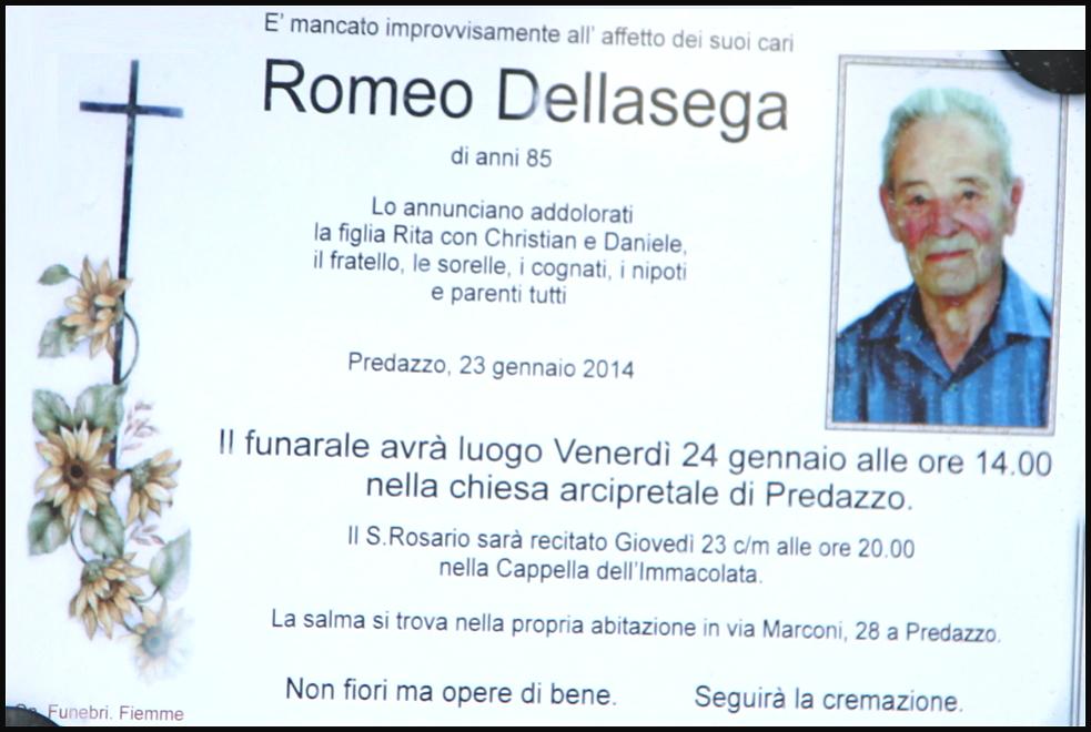 romeo dellasega Predazzo, avvisi Parrocchia e necrologio, Romeo Dellasega