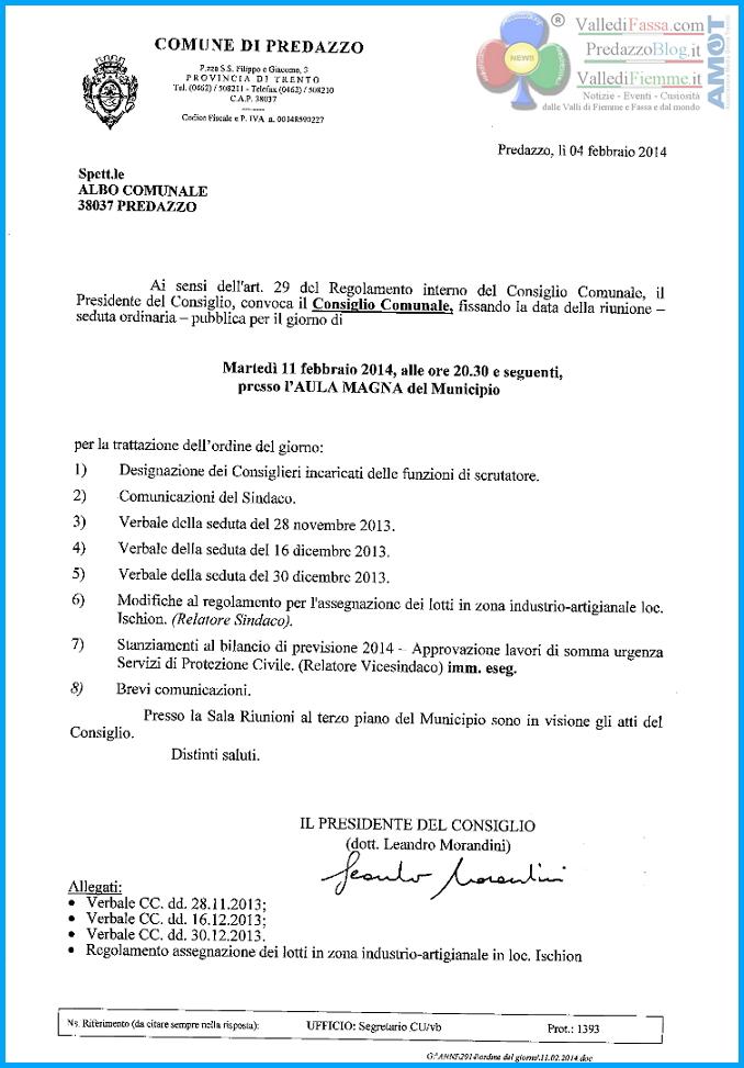 consiglio comunale predazzo 11.2.2014 Predazzo, Consiglio Comunale martedì 11 febbraio 2014