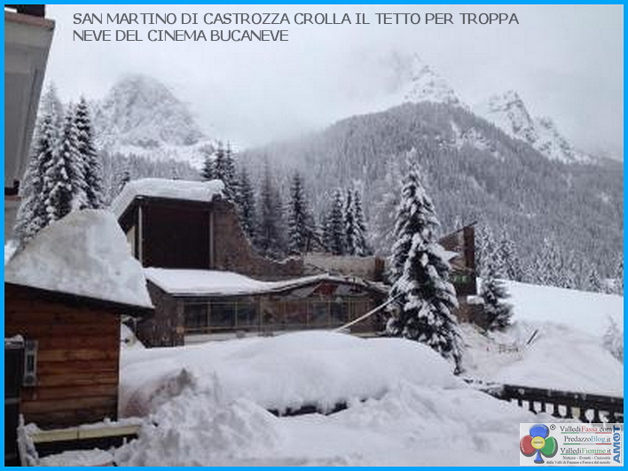 crolla tetto cinema san martino castrozza per neve 1 Crolla il tetto del cinema per troppa neve a San Martino di Castrozza   Interventi anche al Rolle