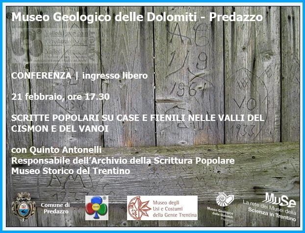 museo geologico dolomiti predazzo scritte popolari su case e fienili Museo Geologico di Predazzo, Scritte popolari su case e fienili