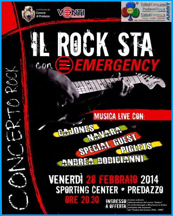 predazzo concerto roch emergency Predazzo, concerto rock solidale per Emergency