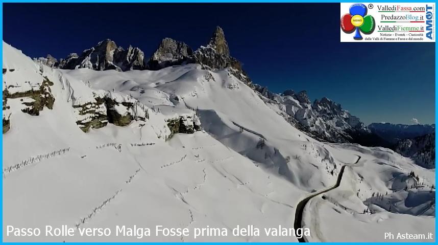 prima della valanga a passo rolle del 20 febb 2014 Valanga a Passo Rolle  con fronte di 40 metri