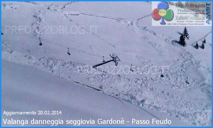 valanga danneggia seggiovia gardone passo feudo aggiornamento 20.2.2014 Valanga danneggia seggiovia Gardonè/Passo Feudo   Impianti chiusi