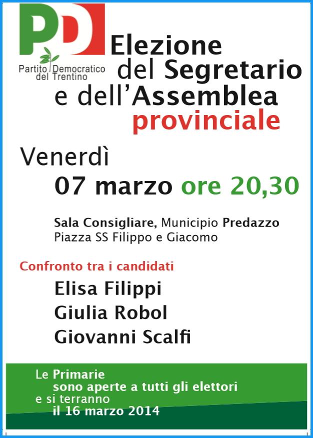 pd predazzo 7 marzo 2014 Predazzo, confronto tra i candidati PD