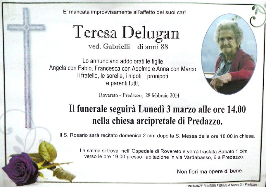 teresa delugan Predazzo, necrologio Teresa Delugan