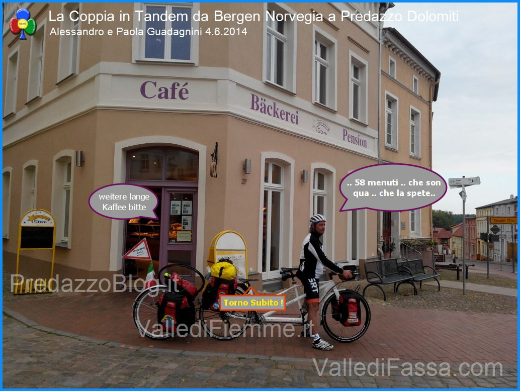 caffe lungo per la coppia in tandem La Coppia in Tandem è partita da Bergen Norvegia verso Predazzo Dolomiti Italia