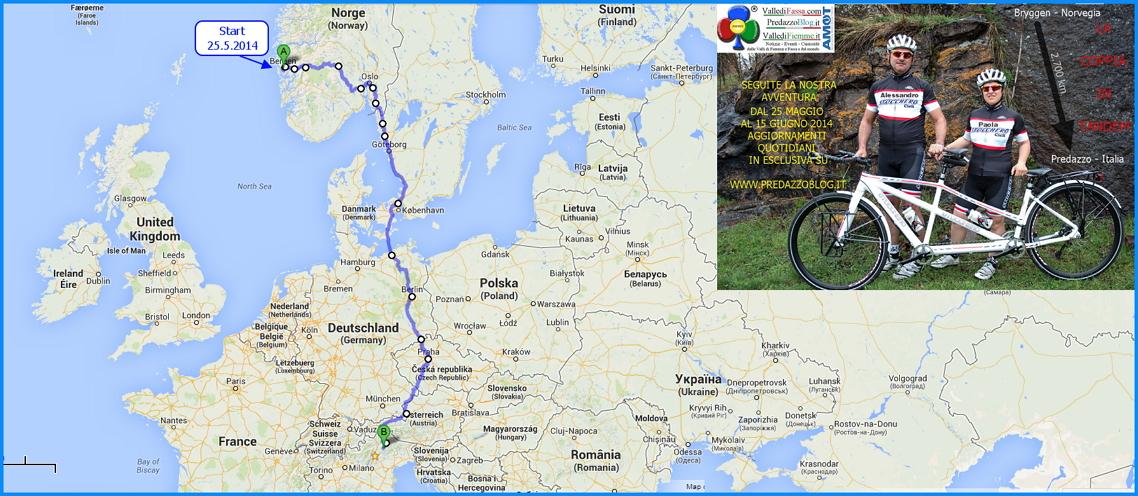 cartina norvegia predazzo coppia in tandem 2014 La Coppia in Tandem è partita da Bergen Norvegia verso Predazzo Dolomiti Italia