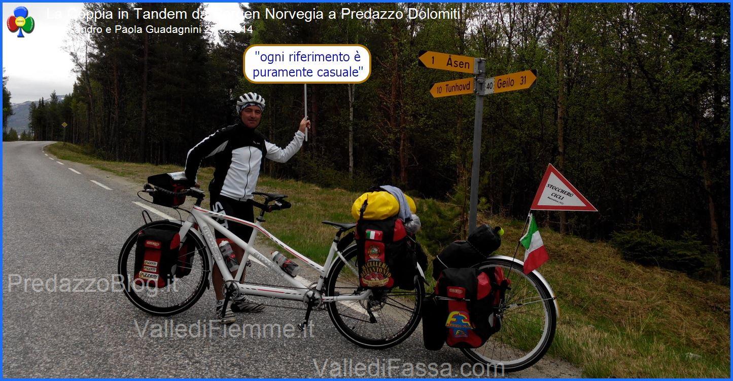 coppia in tandem norvegia predazzo 27.5.2014 predazzoblog12 La Coppia in Tandem è partita da Bergen Norvegia verso Predazzo Dolomiti Italia