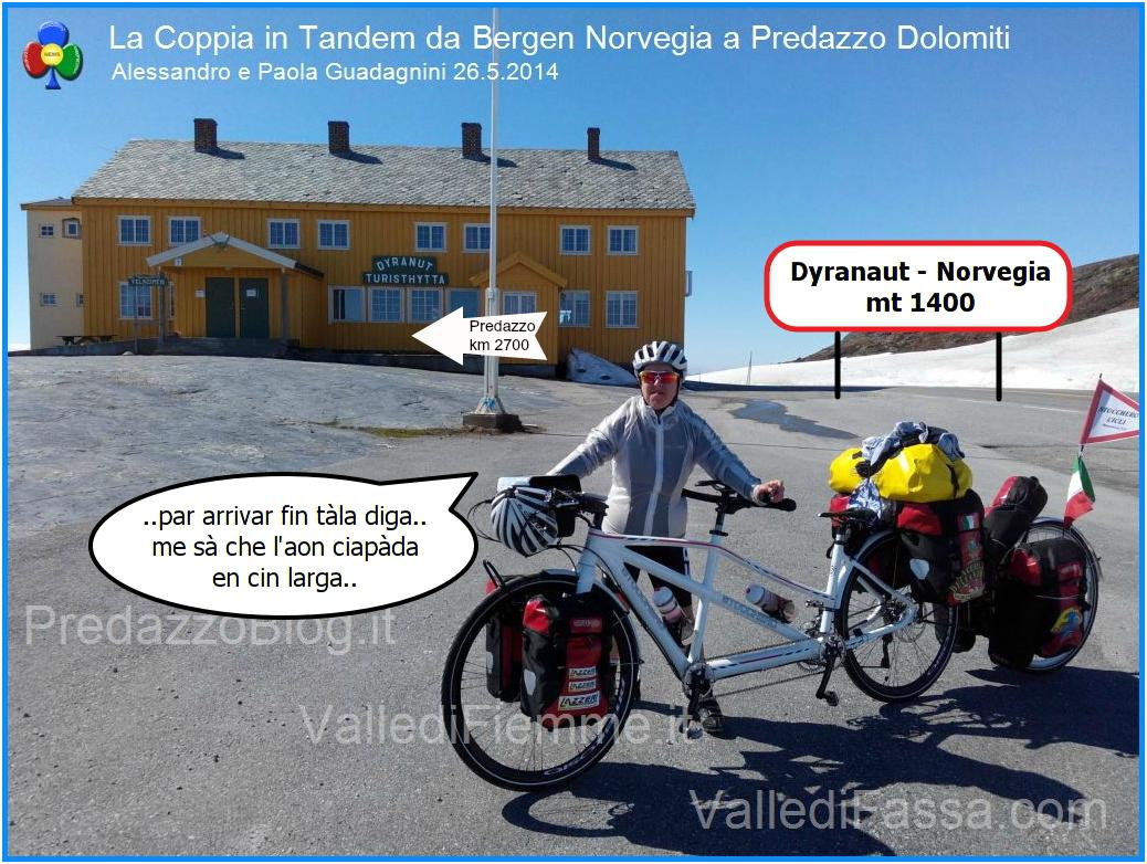 coppia in tandem vignetta norvegia La Coppia in Tandem è partita da Bergen Norvegia verso Predazzo Dolomiti Italia
