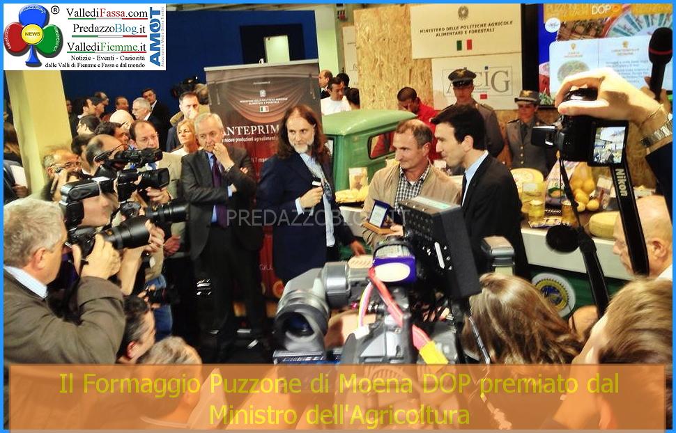 formaggio puzzone di moena premiato dal ministro dellagricoltura Strada dei formaggi delle Dolomiti in costante crescita