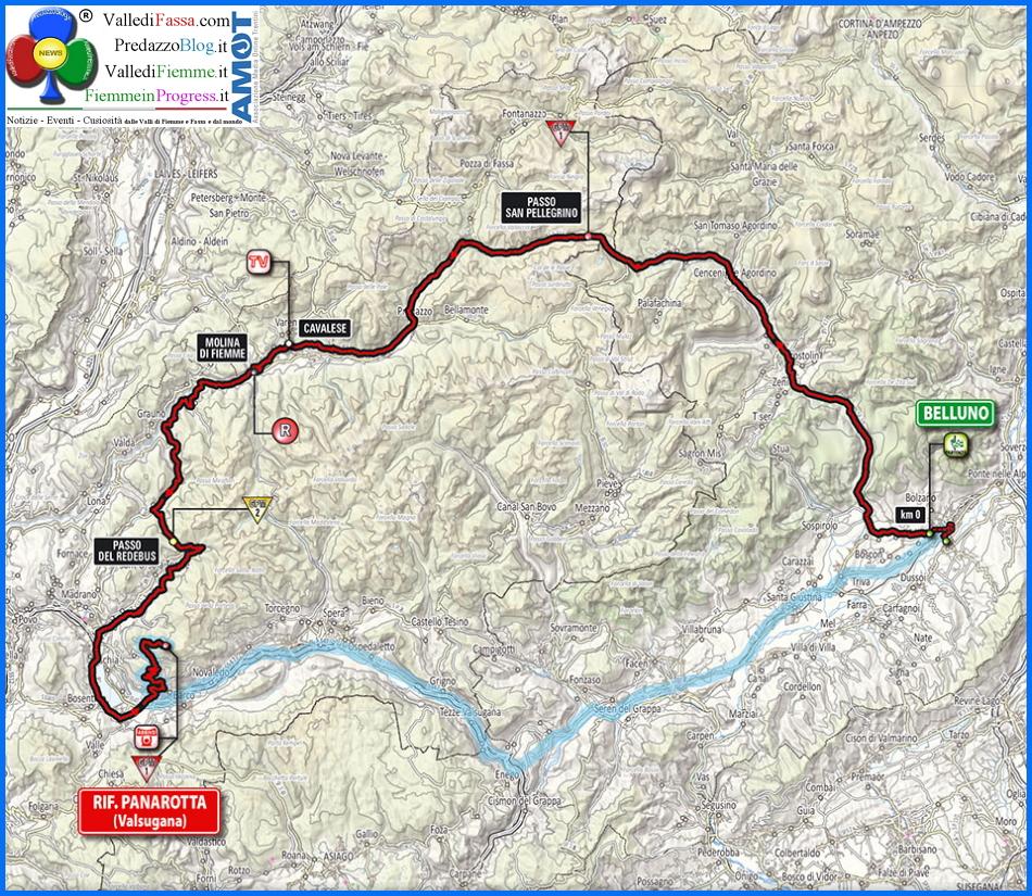 giro italia 2014 cartina belluno panarotta Giro dItalia 2014, in transito a Moena, Predazzo e Valle di Fiemme
