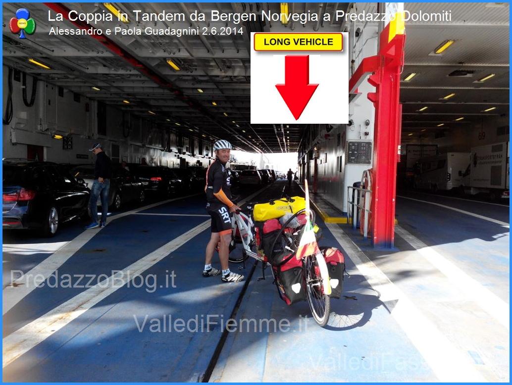 long vehicle La Coppia in Tandem è partita da Bergen Norvegia verso Predazzo Dolomiti Italia