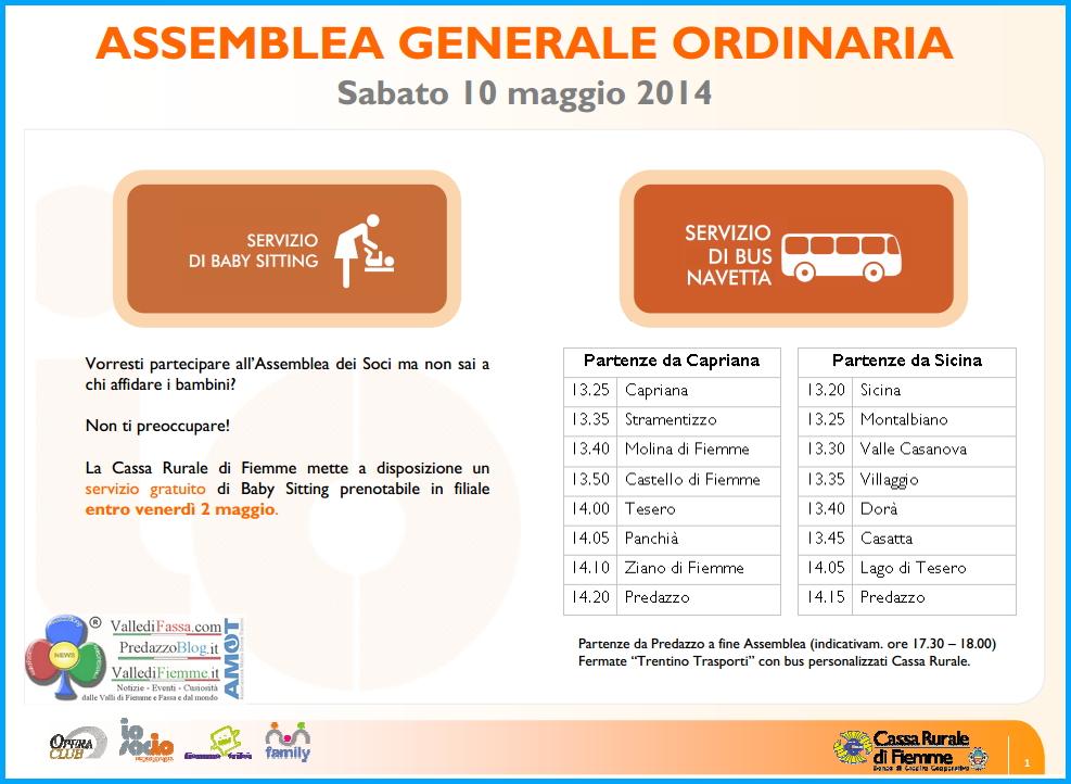 orari bus navetta assemblea 2014 cassa rurale fiemme Cassa Rurale di Fiemme   Assemblea Generale Ordinaria