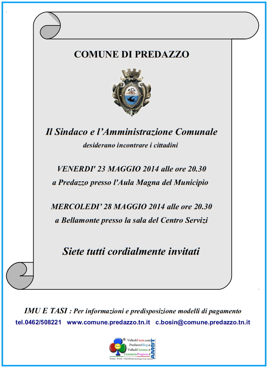 predazzo incontro pubblico con lamministrazione comunale maggio 2014 Sindaco e Amministrazione Comunale incontrano i cittadini di Predazzo