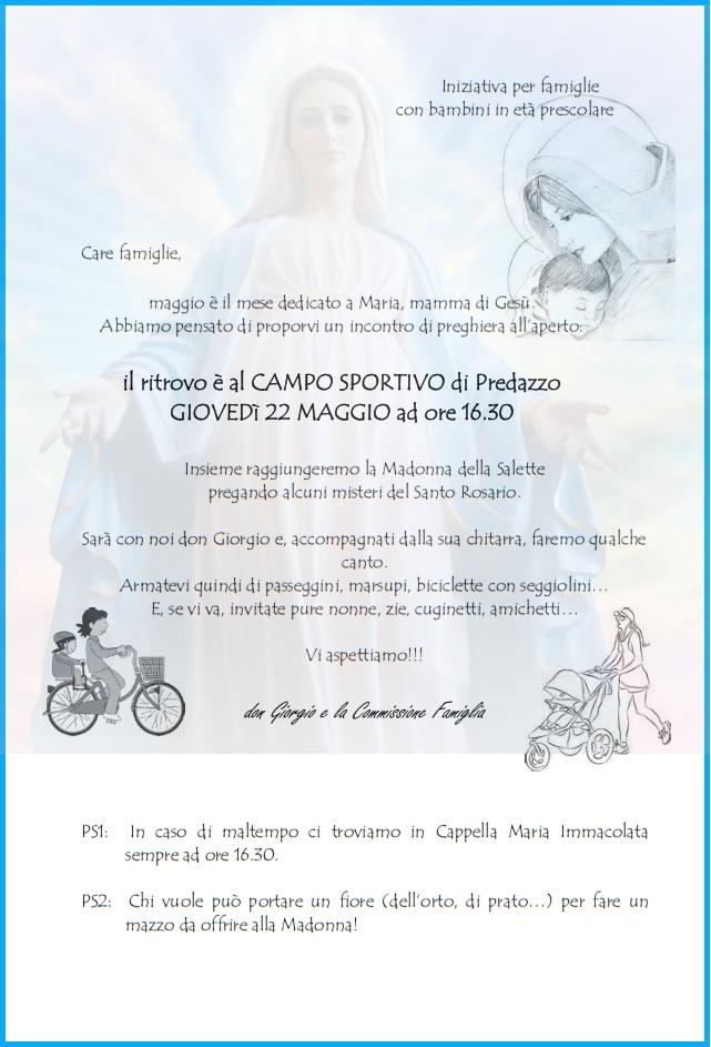 predazzo rosario con famiglie e bambini Predazzo, avvisi della Parrocchia dal 18 al 25 maggio