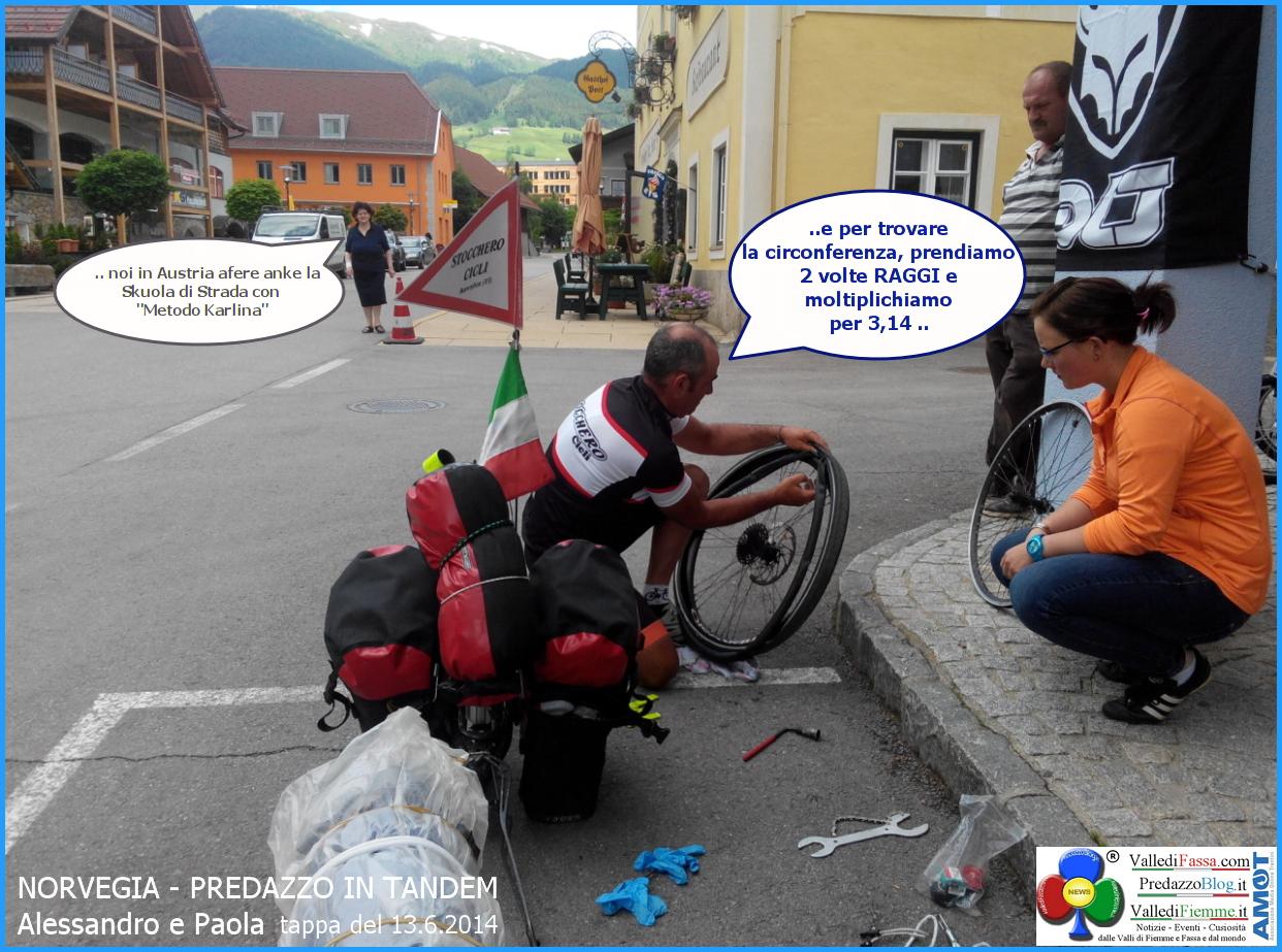 skuola di strada in austria La Coppia in Tandem è partita da Bergen Norvegia verso Predazzo Dolomiti Italia