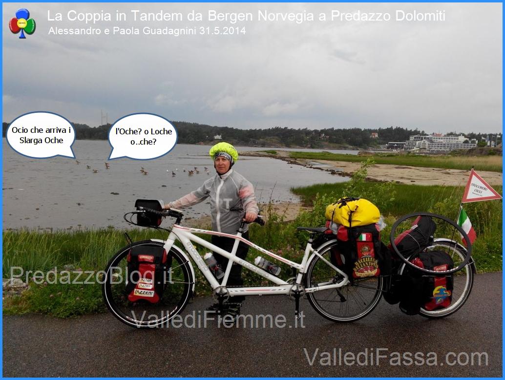 slarga loche La Coppia in Tandem è partita da Bergen Norvegia verso Predazzo Dolomiti Italia