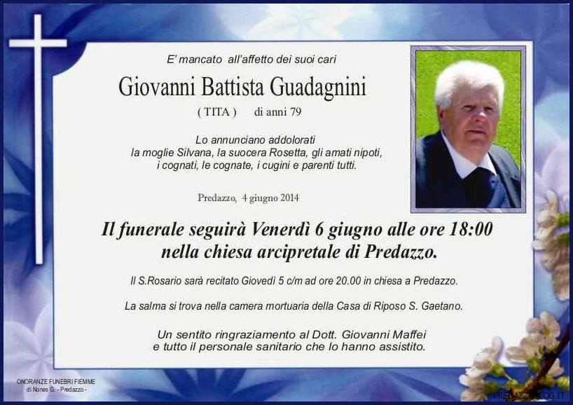 giovan battista guadagnini Avvisi della Parrocchia e necrologio Giovanni Battista G.