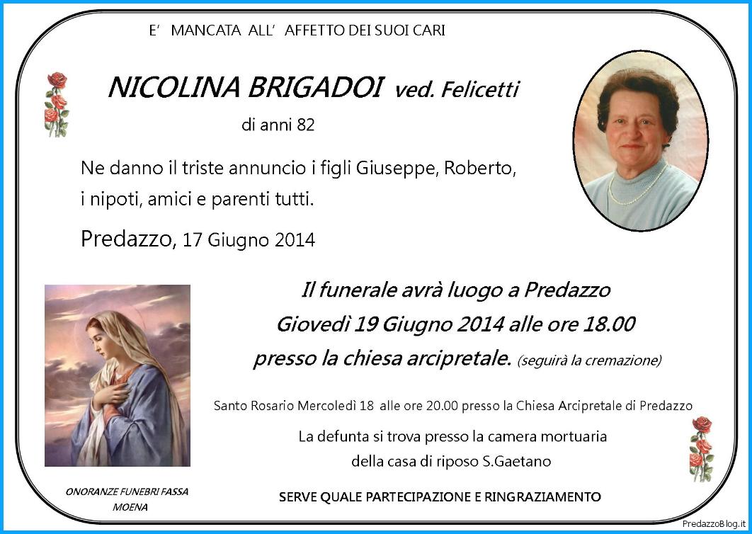 nicolina brigadoi felicetti Predazzo necrologi: Nicolina Brigadoi   Rosa Pighetti