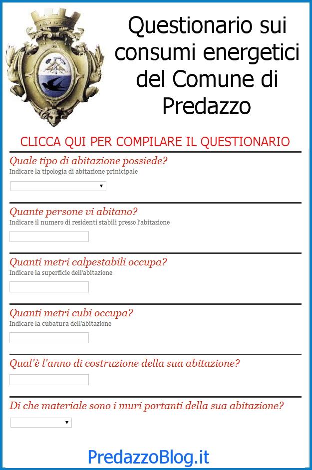 questionario on line comune predazzo PAES, questionario sui consumi energetici del Comune di Predazzo