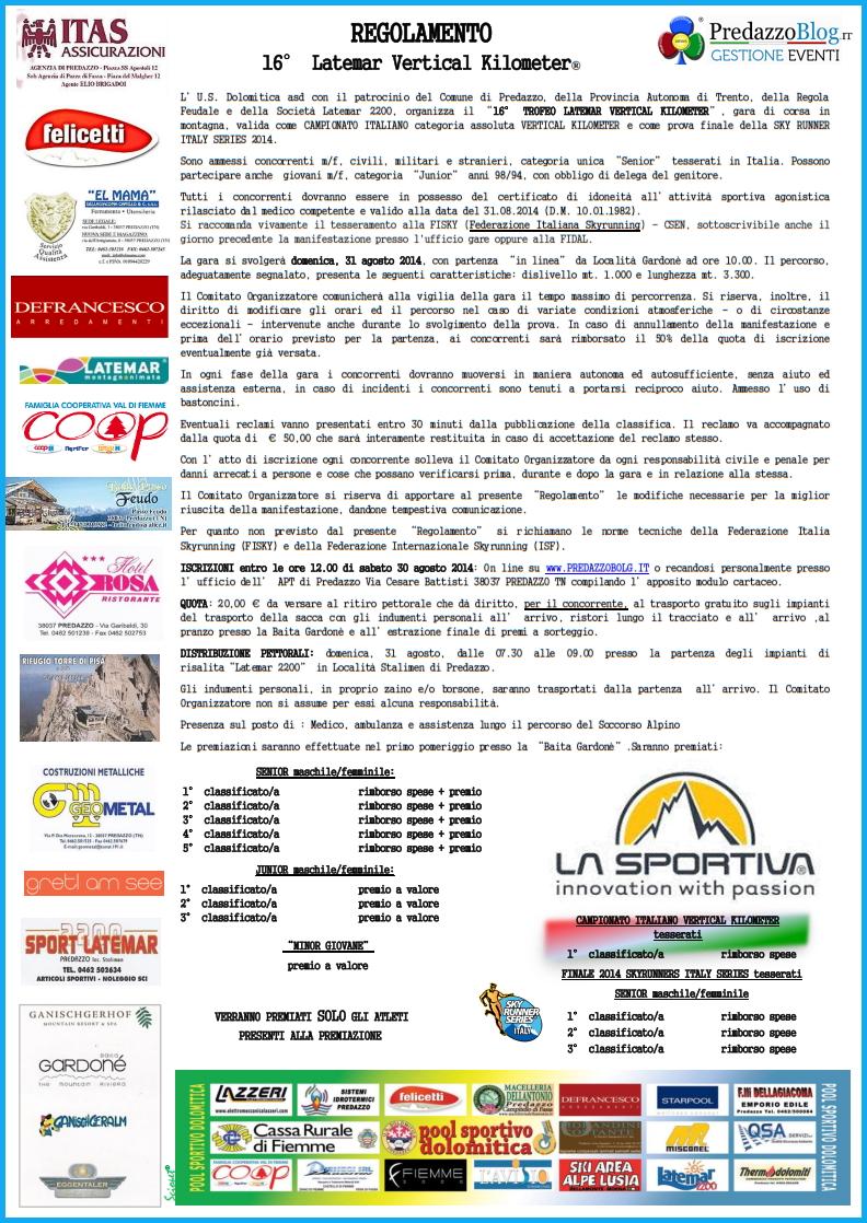 regolamento e sponsor 20141 16° Latemar Vertical Kilometer   31 Agosto 2014   Iscrizioni e Regolamento