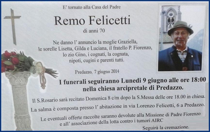 remo felicetti tina Predazzo, necrologio Remo Felicetti (tina)