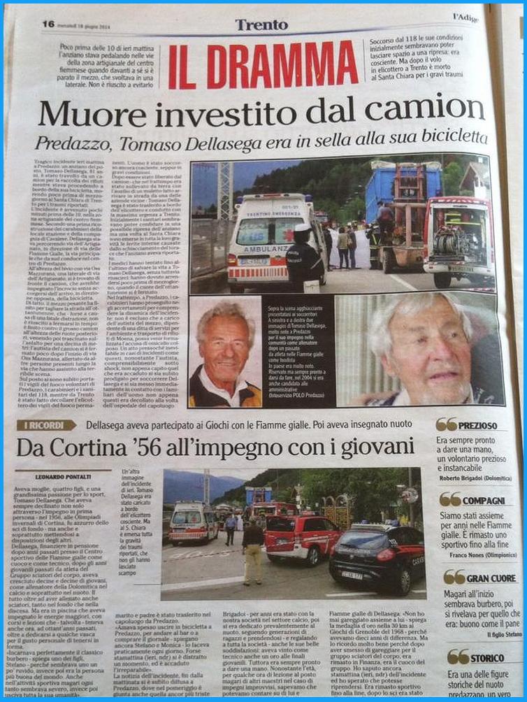 tommaso dellasega cronaca adige Incidente a Predazzo, muore Tommaso Dellasega (pinzan)