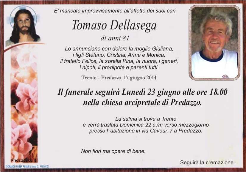 tommaso dellasega Avvisi della Parrocchia e necrologio Tommaso Dellasega (pinzan)