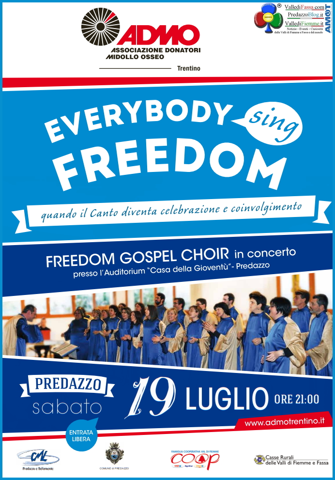 admo freedom predazzo Admo, Freedom Gospel Choir in concerto a Predazzo