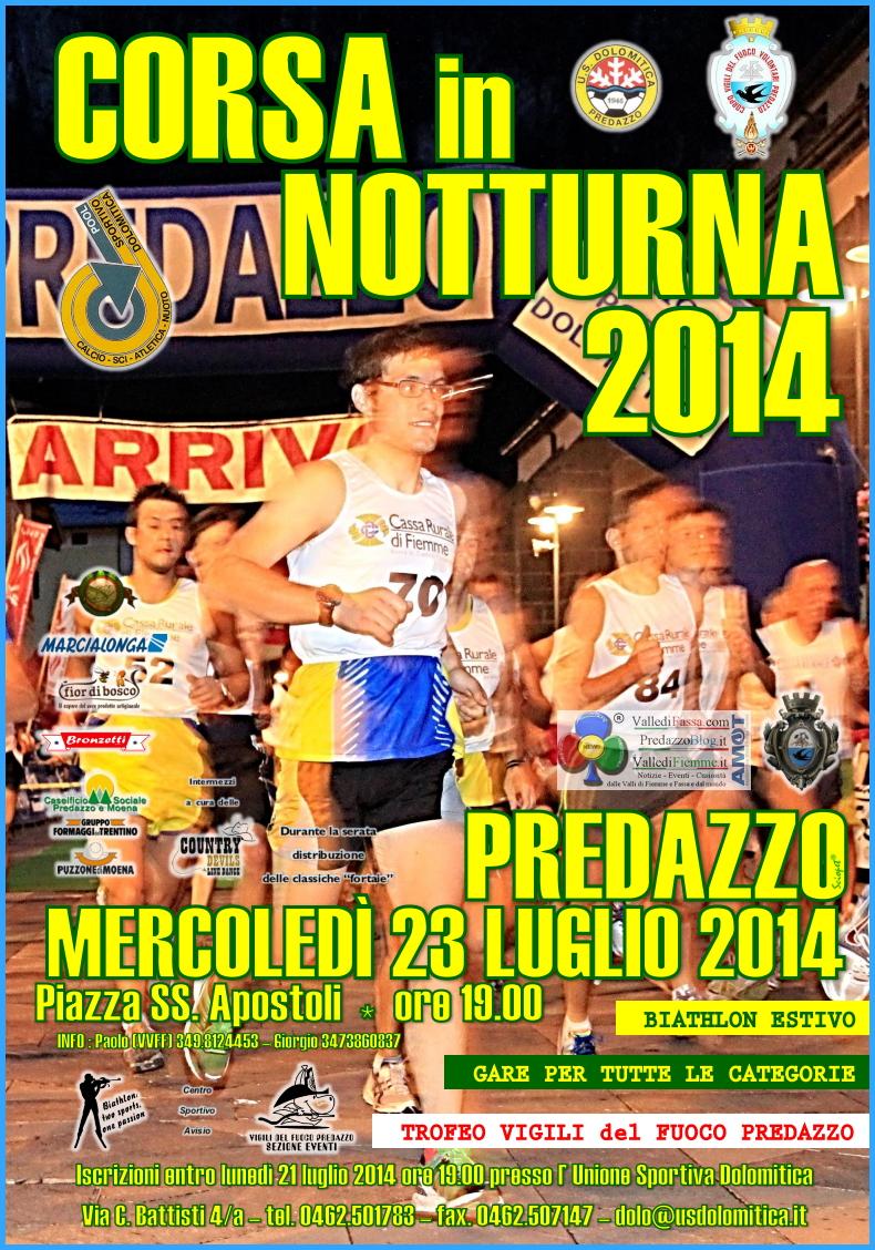 corsa in notturna predazzo 2014 locandina Corsa in Notturna 2014 nel centro di Predazzo