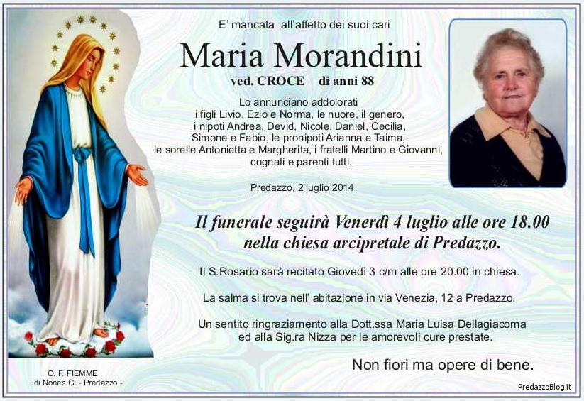 maria morandini Predazzo, necrologio Maria Morandini