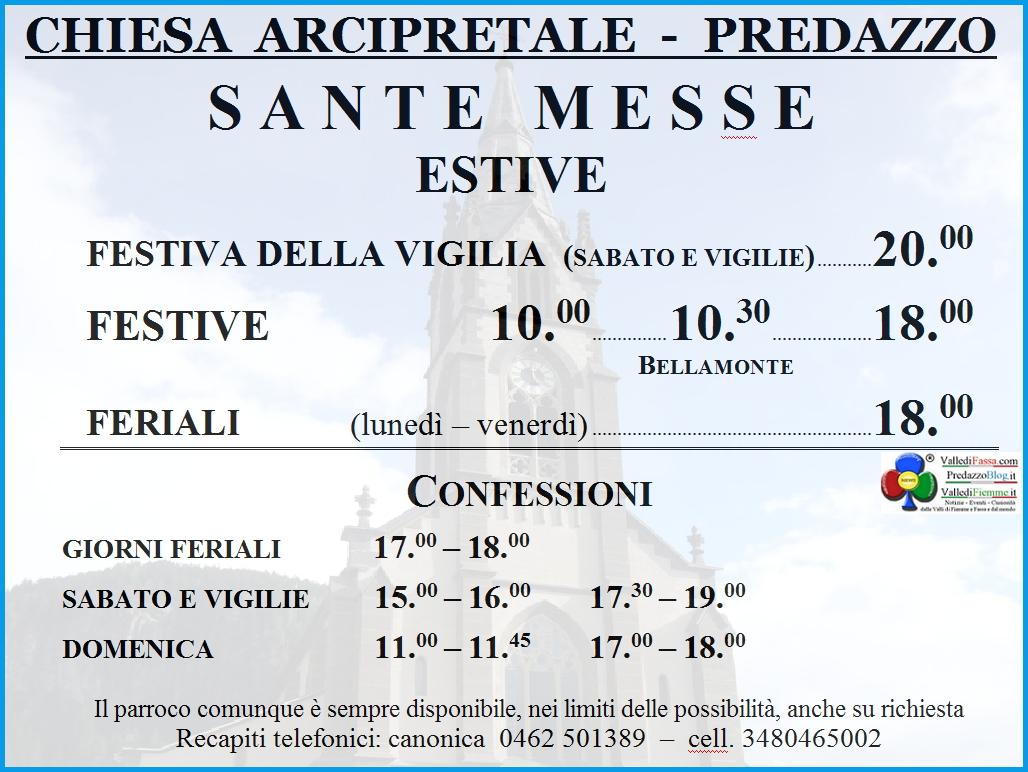 orari messe predazzo estate 2014 Predazzo, avvisi della Parrocchia dal 13 al 20 luglio